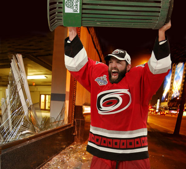 Cam Ward sighted on Canal Street outside the Garden after Game 2