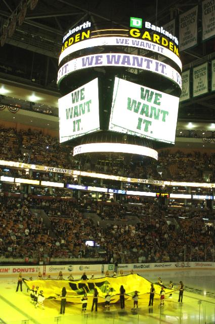The+Garden+is+ready+for+Game+1+of+the+Eastern+Conference+Quater+Finals+between+the+Boston+Bruins+and+the+Montreal+Canadiens